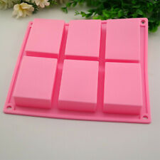 6 Cavity Plain Basic Rectangle Silicone Mould For Homemade Craft Soap Mold UK