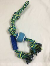 Large dog rope toy with rubber chewy and tennis ball - NEW W/ TAGS - SET OF 5