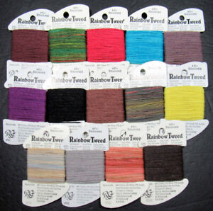 14xNeedlepoint/Embroidery THREAD R GALLERY Rainbow Tweed cotton/wool-NJ39