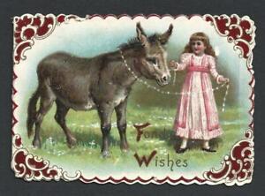 Y49 - GIRL AND DONKEY - RAPHAEL TUCK - FOLDING EMBOSSED EDWARDIAN XMAS CARD