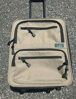 Vintage LL Bean Tan Rolling Carryall Luggage Travel Bag Small Suitcase