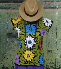 Hand Embroidered Floral Huipil Blouse Multi-Color Jalapa Mexico Hippie Cowgirl