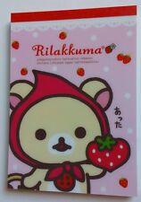 San-x Kawaii Rilakkuma Strawberries Large Memo Pad stationery stickers