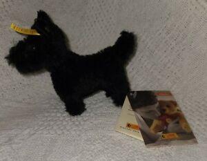 """Steiff Miniature Black Scotty Dog, 4 1/2"""" Tall, #031366, All Tags Intact"""