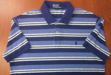 Polo Ralph Lauren Classic Fit Mesh Cotton Blue/White Striped Polo Shirt L