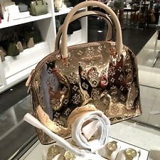 Michael Kors Medium Large PVC Leather Satchel Crossbody Bag Handbag Rose Gold MK