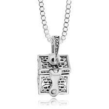 Silver Box Memorial Urn Cremation Charm Pendant Necklace Keepsake Ash Holder