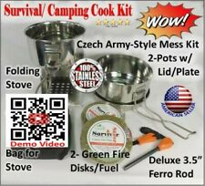 Portable Emergency Camp Cook Kit. Multi-Fuel Stove, Stainless Steel Pot, Fuel,