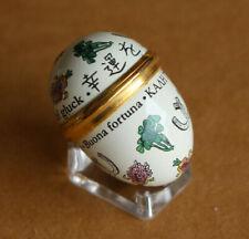 Halcyon Days Good Luck Egg Stand Enamels Bilston Battersea Trinklet Pill Box