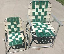2 Vintage Webbed Aluminum Folding Lawn Chairs Lot Green White Child Adult