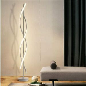 Dimmable Floor Lamp LED White Spiral Standing Lamp 30W  Indoor Decoration Light