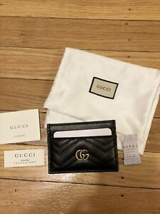 New Womens Gucci Marmont Card Holder Black Wallet