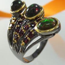 B063 Unikat Ring 925 Silber Gold Black Rhodium schwarze Opale Rhodolithe Gr. 56