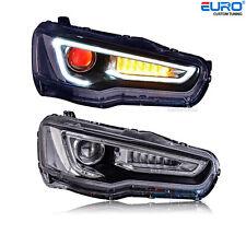 LED Halo DRL Projector Headlights w/Red Devil Eye for 08-16 Lancer Evo GSR MR