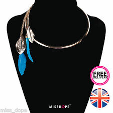 NEW GOLD CLEOPATRA FEATHERS LADIES NECKLACE CHOKER CHAIN BLUE BOHO WOMENS BIB UK