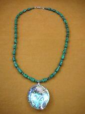 """(v462-3) iridescent green Paua abalone shell + Malachite 22"""" beaded Necklace"""