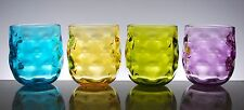 QG Clear Colorful Acrylic Plastic 14 oz. Wine Glass Rock Tumbler Set of 4