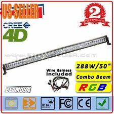 50inch RGB LED Lightbar 4D Off Road 288W Auxiliary Driving Light Bar Combo Beam