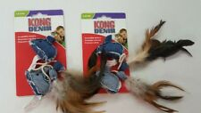 (Set of 4) KONG Denim Mice Cat Toys With Feather Tails And Premium Catnip