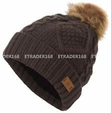 Women's Faux Fur Pom Pom Fleece Lined Knitted Slouchy Beanie WInter Warm Hat