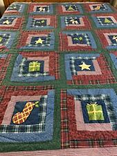 """Vintage Hand Quilted  Plaid Log Cabin Christmas Quilt 82"""" x 81"""" Queen #183"""