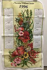 Vintage Linen Cotton Blend Tea Towel Australian Wildflower Calendar 1996