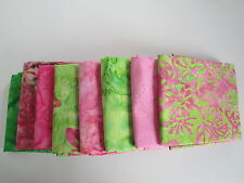 Pink And Green Fat Quarters Batik Hand Painted Hoffman Fabrics Spring Lot