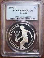 1996-P Olympic Tennis Silver Dollar, PCGS PR-69 DCAM