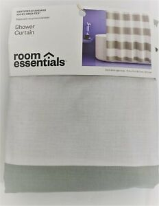 ROOM ESSENTIALS Shower Curtain NEW IN PACKAGE Striped Gray Mist
