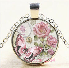 Flower Butterfly Cabochon Silver/Bronze/Black/Gold Chain Pendant Necklace #7362