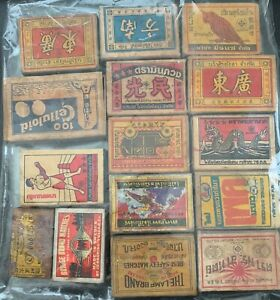 Thailand Vintage Matchbox Labels on boxes, Collection of 15 labels *d
