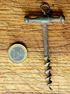 ANCIEN TIRE BOUCHON BRONZE & ACIER FORME T AVEC ANNEAU COLLECTION VINTAGE A VOIR