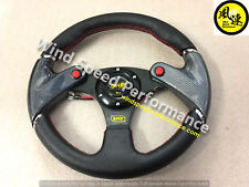 Racing 320mm Carbon Fibre Leather Flat Steering Wheel 2 Button momo hub
