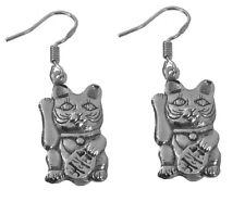 WOW Maneki Neko Lucky Cat Good Fortune prosperity Solid Sterling Silver 925 Earr