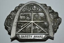 NICE Vintage 1988 ARCH Coal MINER Safety Award Silver Tone Belt Buckle Rare