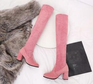 Womens Over Knee Boots Long Stretch Faux Suede Chunky High Heel Strap Shoes
