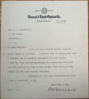 Bausch & Lomb Optical Letterhead-WILLIAM BAUSCH 1911 TLS Autograph/Signed Letter