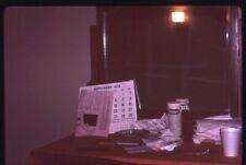 Abstract Org 35mm photo slide Sept 1973 Messy dresser Calendar mirror