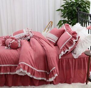 Farmhouse Bedding Set Shabby Lace Ruffle 100%Cotton Duvet Cover Set Bedskirt