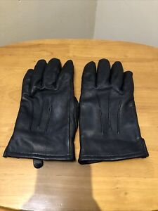 Mens John Lewis Gloves Size M Black Leather Smart Casual Driving Gloves