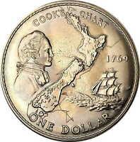Vintage Coin New Zealand Crown 1969 Captain Cook Queen Elizabeth $1 KM# 40