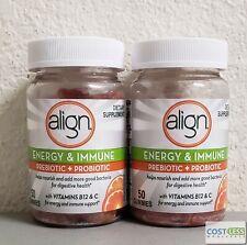 Align Energy & Immune Prebiotic Supplement Gummies Citrus Flavor 50 ct 2 pack