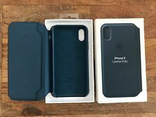 Apple Leather Flip Cover for iPhone X ‑ Cosmos Blue - New, See Detils