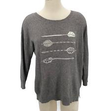 J.Crew Sweater Embroidered Rabbit Hair Arrows 3/4 Sleeves Women's Size Medium