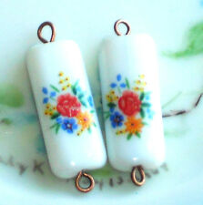 #916G Vintage Connectors Drops Dangles Rose Pink Dangle Charms Limoges Glass NOS