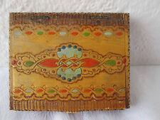 Antique Vintage cigarette case pokerwork hand painted wood wooden folk art ../5/