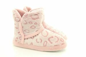 Womens Fluffy Indoor Cosy Warm Winter Booties Slippers Boots Pink