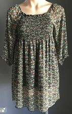 Boho Chic JESSIE LEE Floral Multi Colour Shirred Elastic Smock Top Size M/10