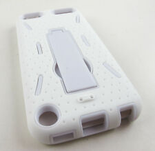FULL WHITE IMPACT HARD SOFT CASE COVER KICKSTAND FOR APPLE IPOD TOUCH 5 5TH GEN