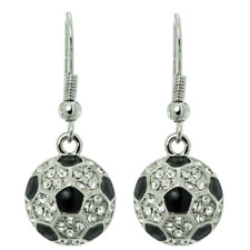 Soccer Football Ball Earrings Made With Swarovski Crystal Player Hook Jewelry